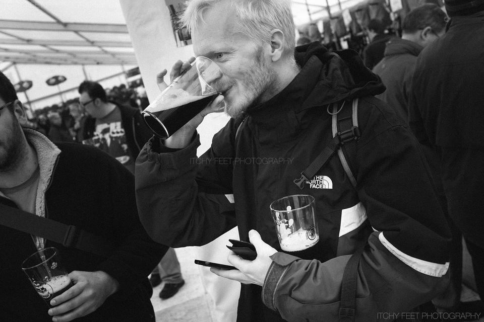 Svend Hesselholt Henne Hansen enjoying two beers at Cambridge Beer festival